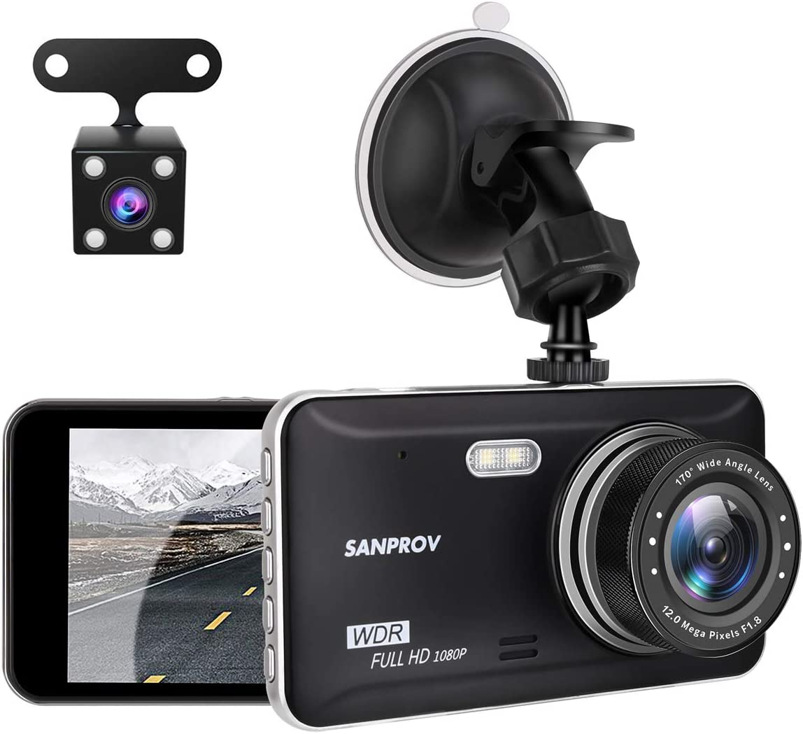 Dash Cam SANPROV Car Dash Cam Front and Rear Car Camera 1080P Full HD 4.3 inch 170 Wide Angle Dash Camera for Cars Driving Recorder with WDR Parking Monitor G-Sensor and Loop Recording