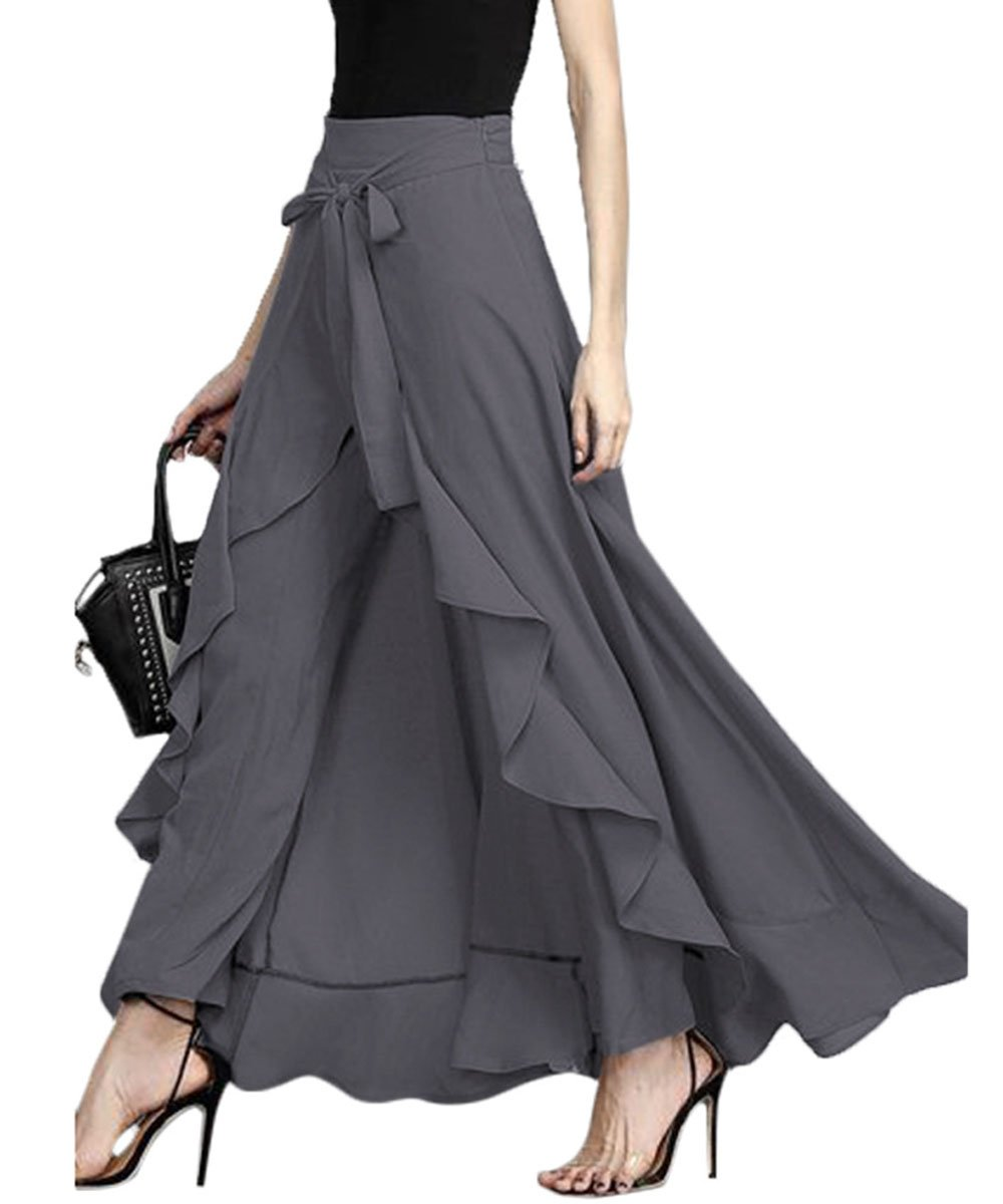 Gutai Lace Women Summer Autumn Full Length High Waist Palazzo Pants Solid Trouser(Gray,XL)
