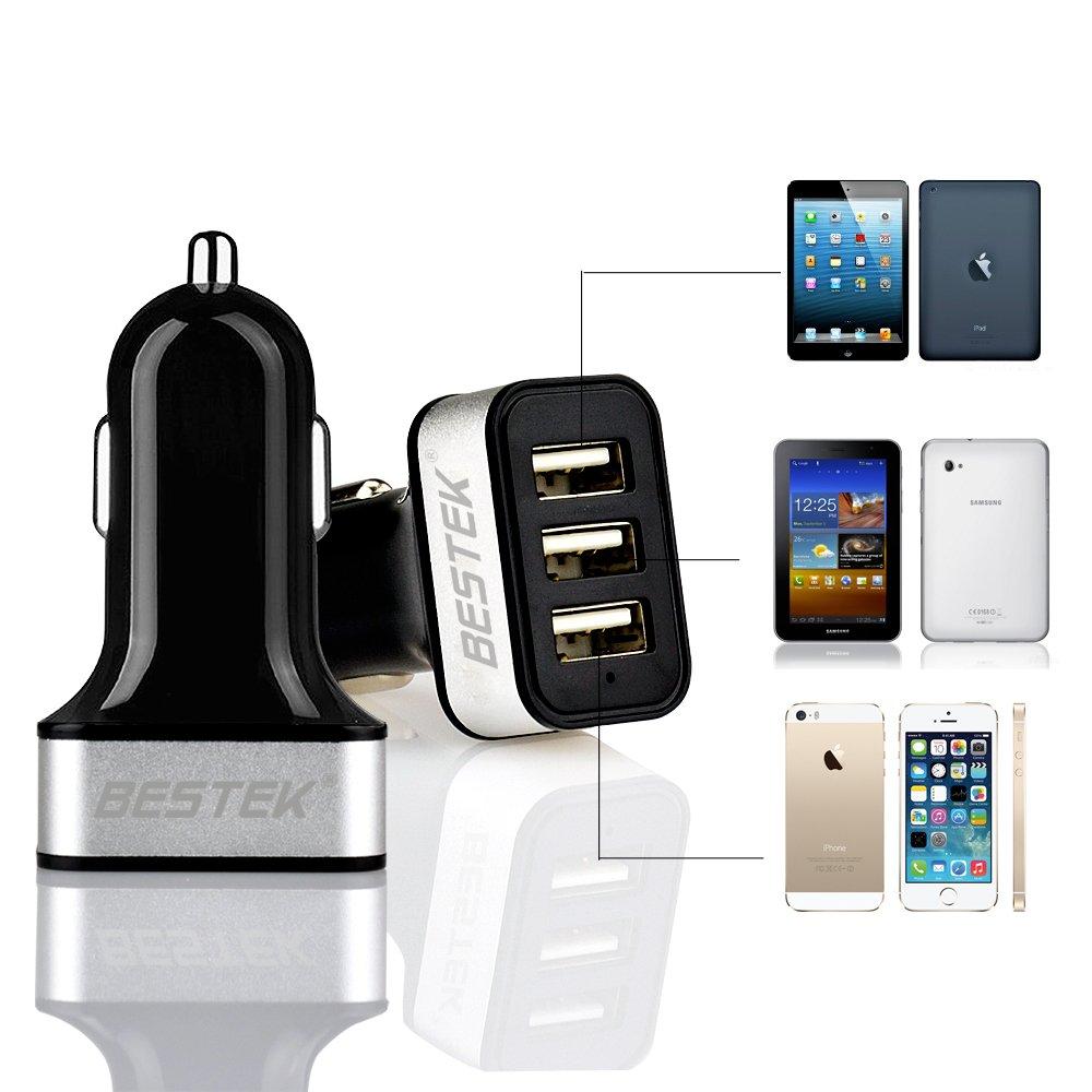 BESTEK 7.2A 3-Port USB Caricabatteria da Auto con Smart IC Chip per iPhone 7 6s 6 Plus iPad PRO//Air 2 Mini 4 3 2 Samsung Galaxy S7 //Nota 5 4 3 Smartphone Tablet