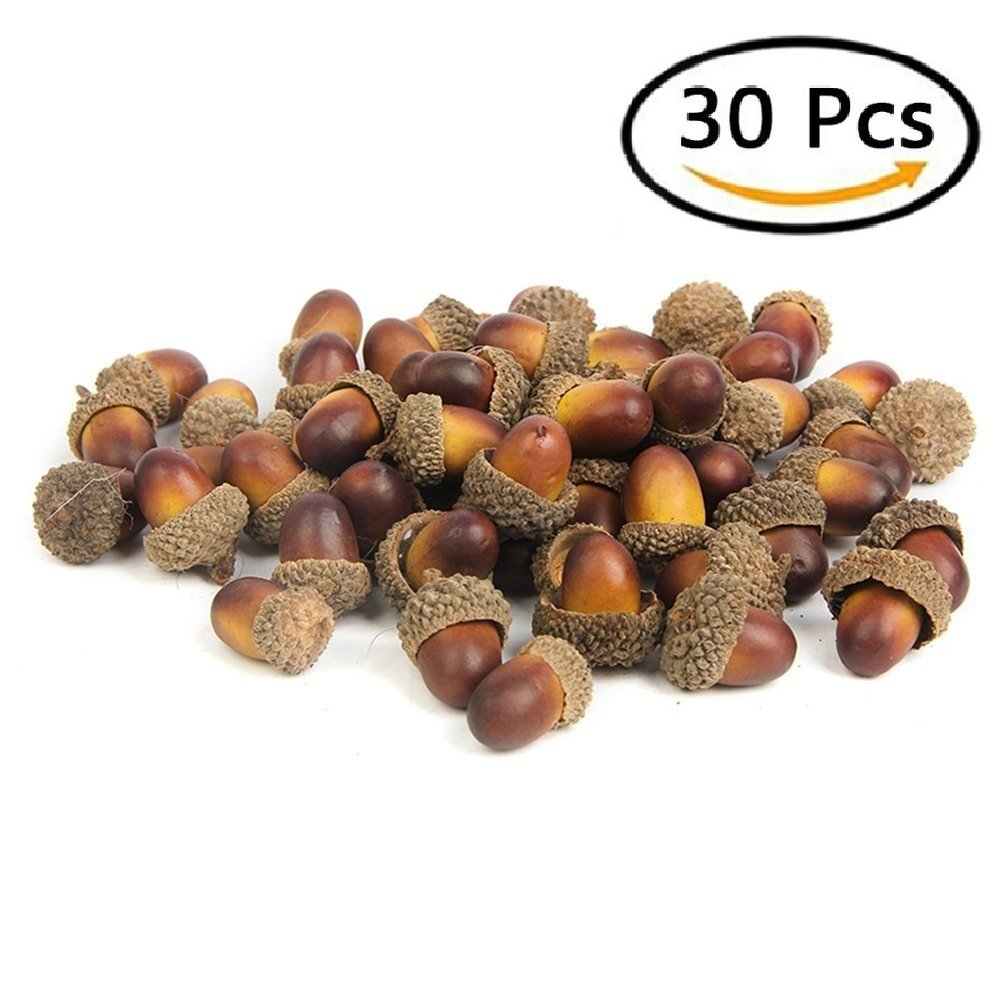 20 Pcs Artificial Acorns, BuycheapDG Retro Color Fake Acorns Mini Acorns DIY Craft Home for Christmas Wedding Party Xmas Tree Party Miniature Garden Candy Boxes Bag Decoration Made in China