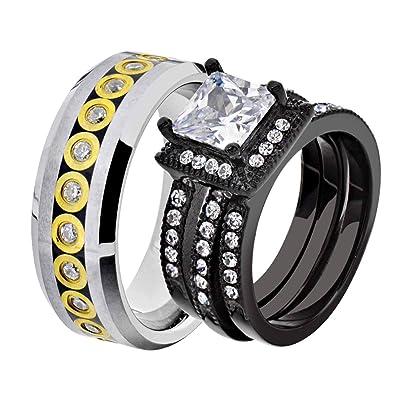 Amazon.com: Juego de anillos de boda para pareja y novia ...
