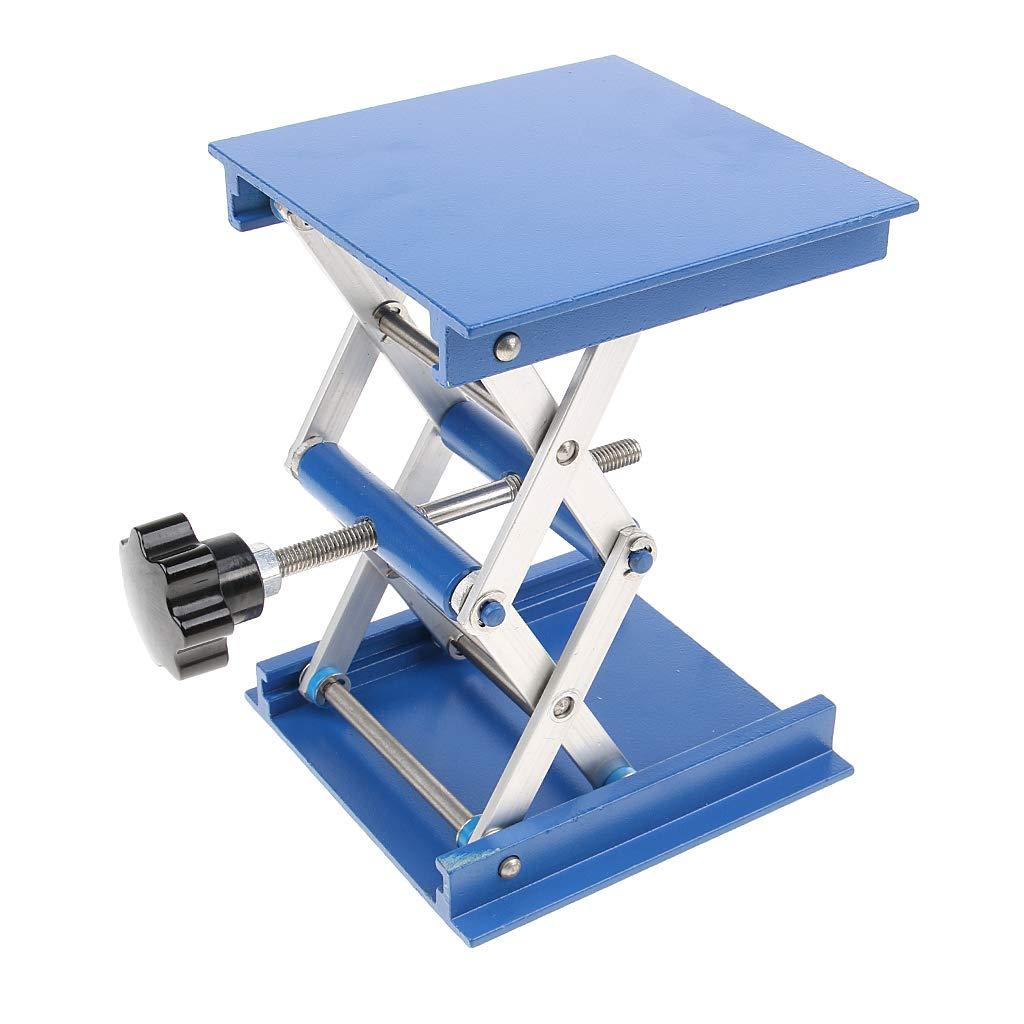 Baosity 1 pc 10X10cm Aluminum Lifting Platforms Stand Rack Scissor Lab Jack Blue 4inch