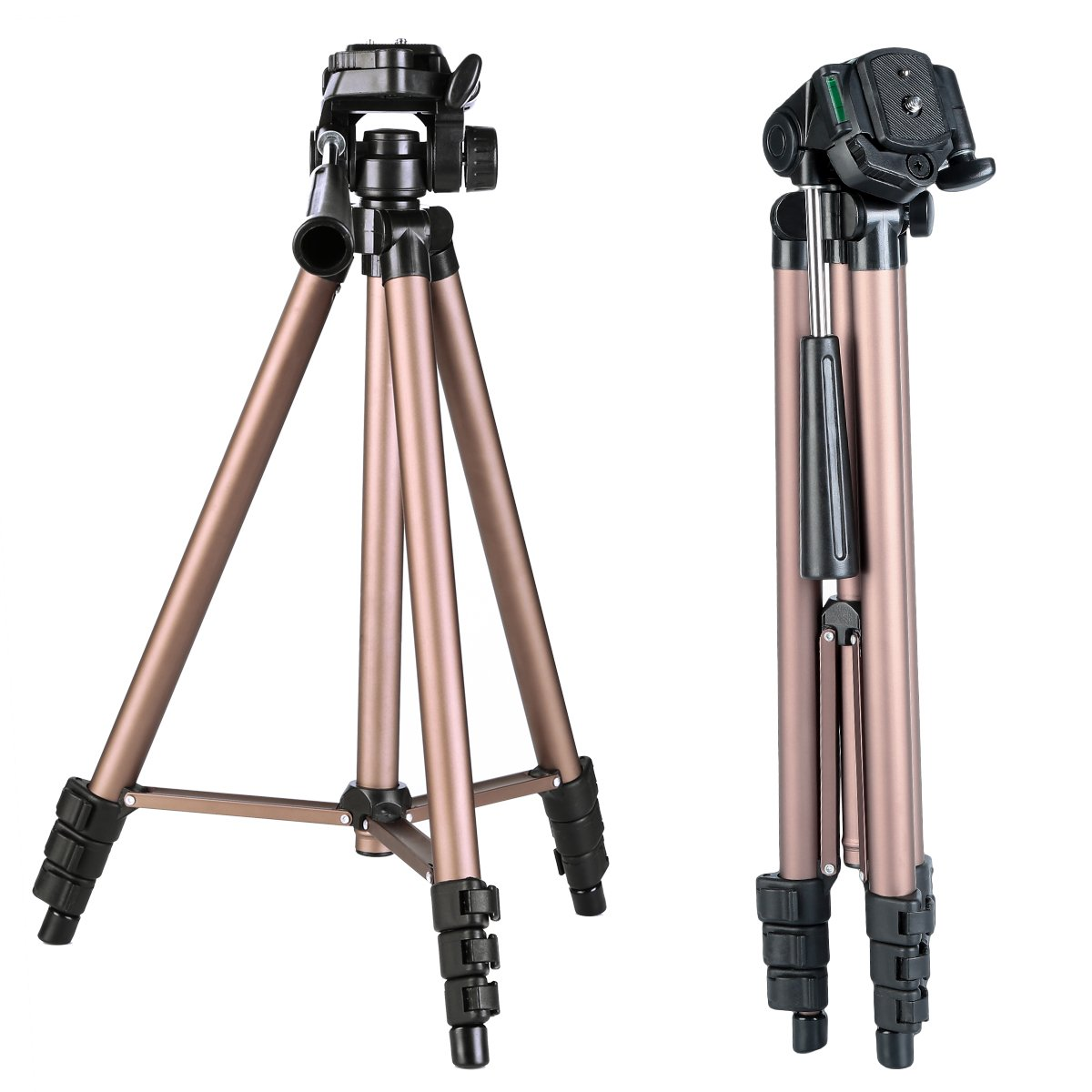 K&F Concept 49 Inch Aluminum Compact LightWeight Travel Portable Tripod with 3-Way Pan Head + 4 Sections + 1/4'' Quick Release Plate with Carry Bag for DSLR & Mirrorless Cameras by K&F Concept