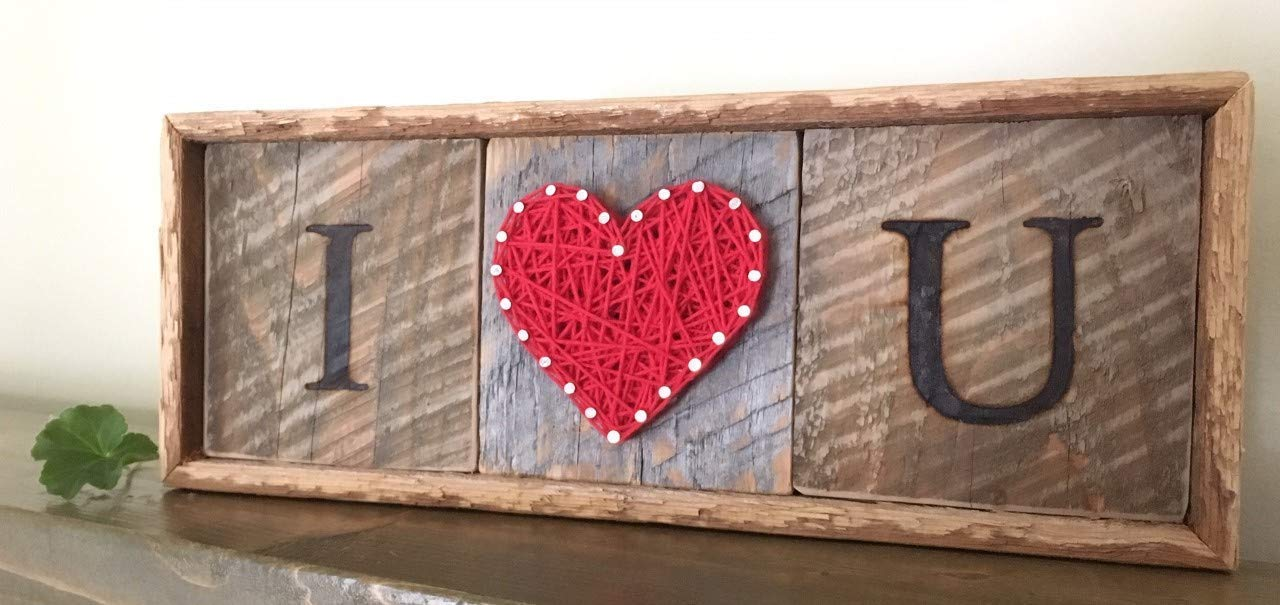 Framed I love you string art heart sign, plaque. A unique gift for Valentine s Day, Weddings, 5 year Anniversaries, Birthdays and just because. Made on rustic reclaimed Maine wood.