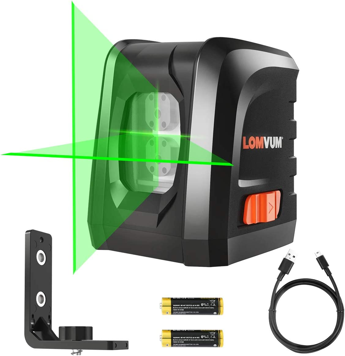 Laser Level, LOMVUM 3 Mode Green Laser Level 100ft Self-Leveling Horizontal Vertical Line and Cross-Line with Dual Laser Sources, Magnetic Pivoting Base, Battery Included