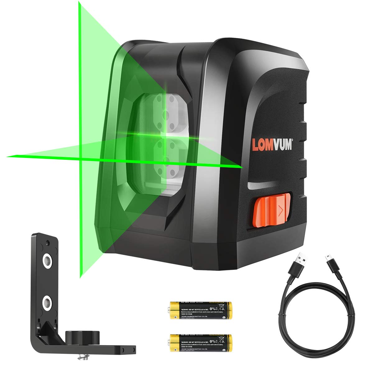 LOMVUM 3 Mode Green Laser Level 100ft Self-Leveling Horizontal//Vertical Line and Cross-Line with Dual Laser Sources Laser Level Battery Included Magnetic Pivoting Base