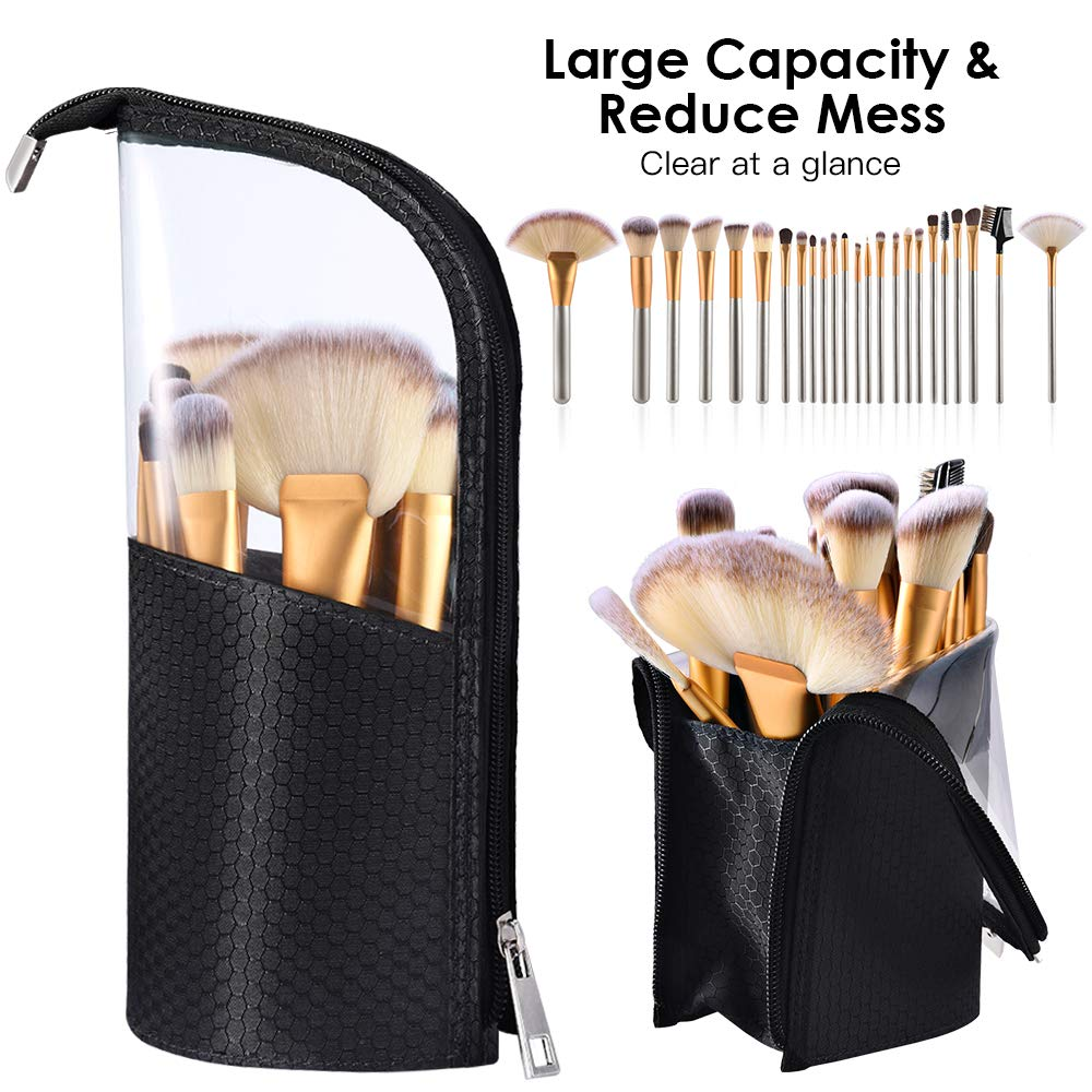 Travel Make-up Brush Cup Holder Organizer Bag, Pencil Pen Case for Desk, Clear Plastic Cosmetic Zipper Pouch, Portable Waterproof Dust-Free Stand-Up Small Toiletry Stationery Bag with Divider, Black by ROYBENS (Image #5)