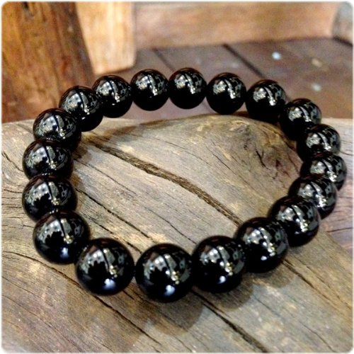 L 黒水晶 モリオン10mm 天然石パワーストーンブレスレット 最強の魔よけ 黒水晶 腕輪 B00KK4ZW68 16.5 センチメートル