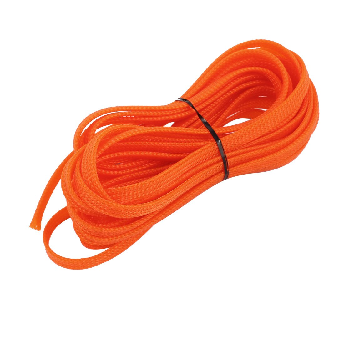 sourcing map PET Braided Sleeving 16.4 Feet 5m Expandable Cable Wrap 6mm Width Wire Sheath Orange a16101900ux1210