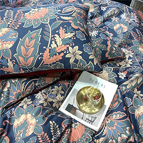 mixinni Floral Duvet Cover Queen Retro Flowers Leaf Bedding Set Sateen Cotton Red 3pcs Duvet Cover Set with Zipper Ties Luxury Quality Comfortable Easy Care(3 Pieces,Queen/Full)