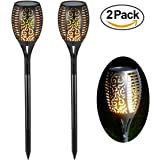 Solar Garden Torch Lights 96 LED Dancing Flame Lighting Outdoor Waterproof Flickering Tiki Torches Landscape Light Path Decoration Lamp(2 Pack)