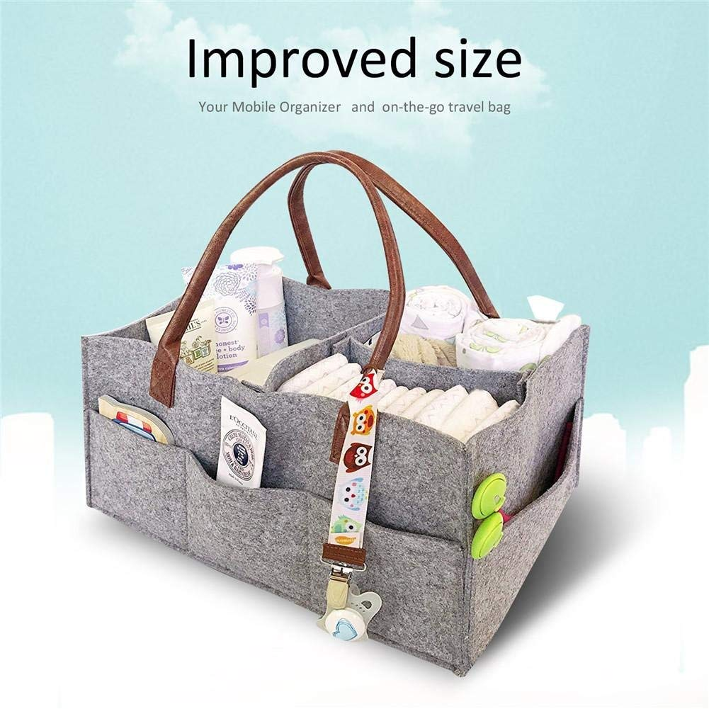 Foldable Felt Storage Bag Portable Lightly Multifunction Changeable Compartments for Mom Newborn Kids Nappies eujiancai Baby Diaper Caddy Organizer