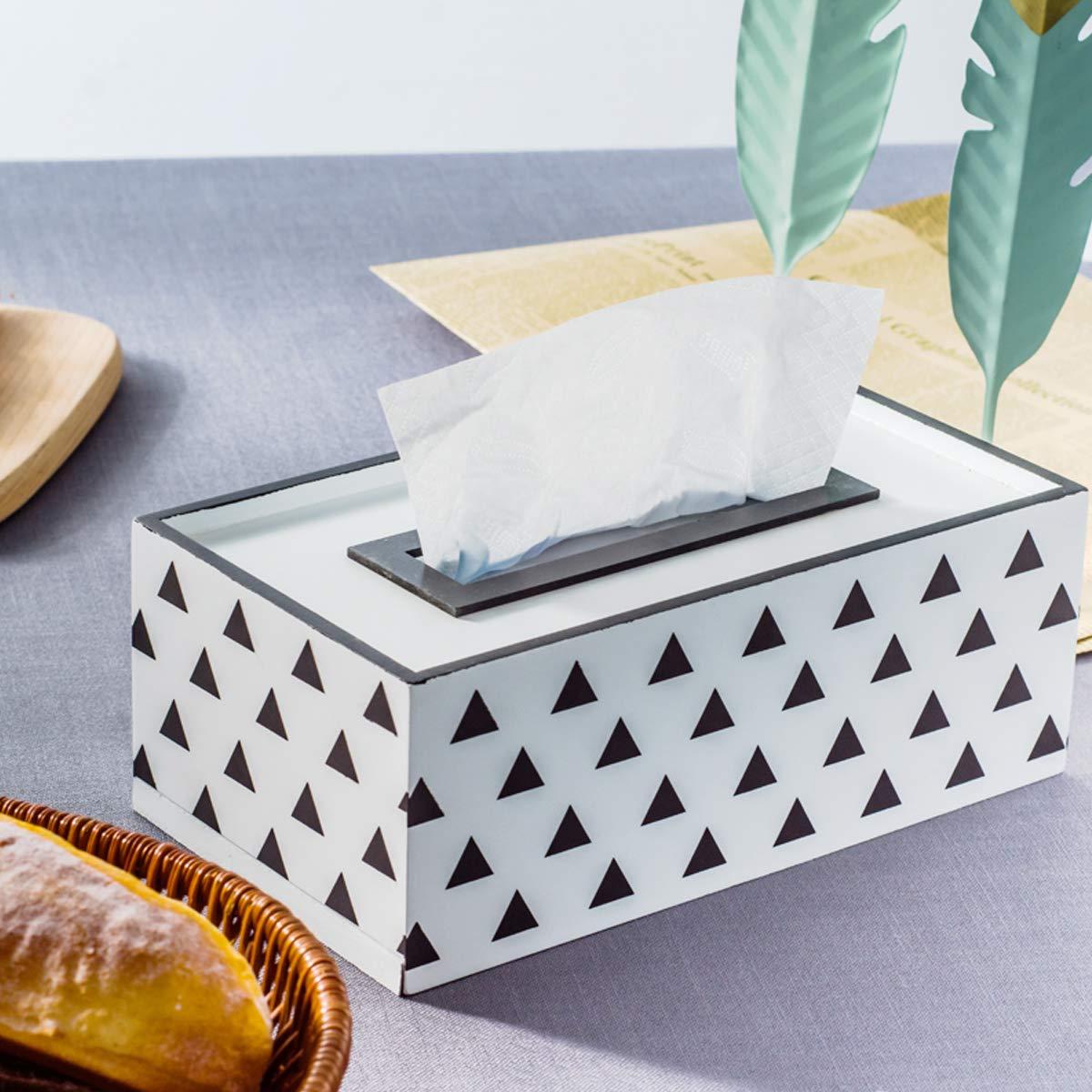 Yoillione Rectangle Tissue Box Cover Wood Kleenex Box Slide-Out Bottom Panel for Easy Replacement Napkins Box Cover Holder Black Line Lattice