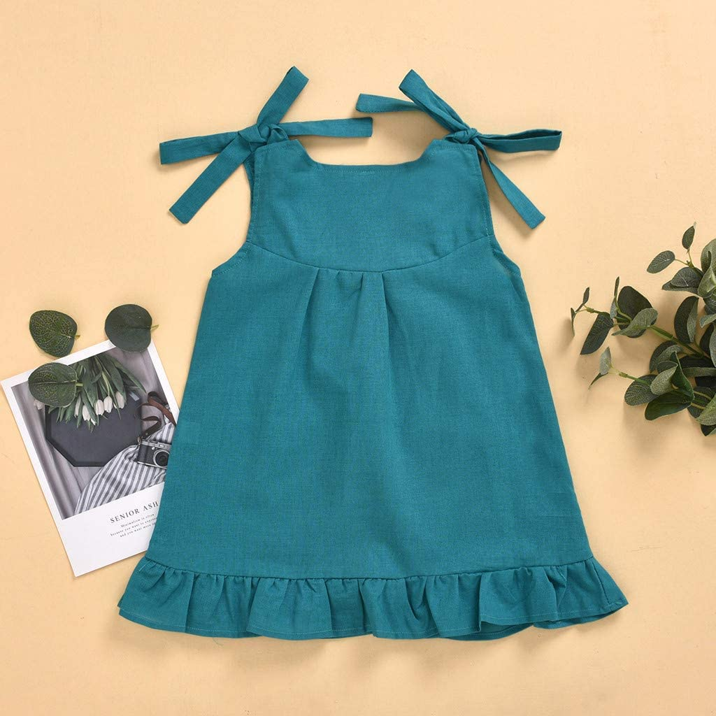 sunnymi 2-6 Jahre Baby M/ädchen Kleider,Kleinkind Kinder Baby M/ädchen L/ässig R/üschen Prinzessin Taschenkleid Sommerkleid Outfits