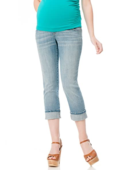 a021602bb85f00 Motherhood Indigo Blue Secret Fit Belly Skinny Leg Maternity Crop Jeans at Amazon  Women's Clothing store: