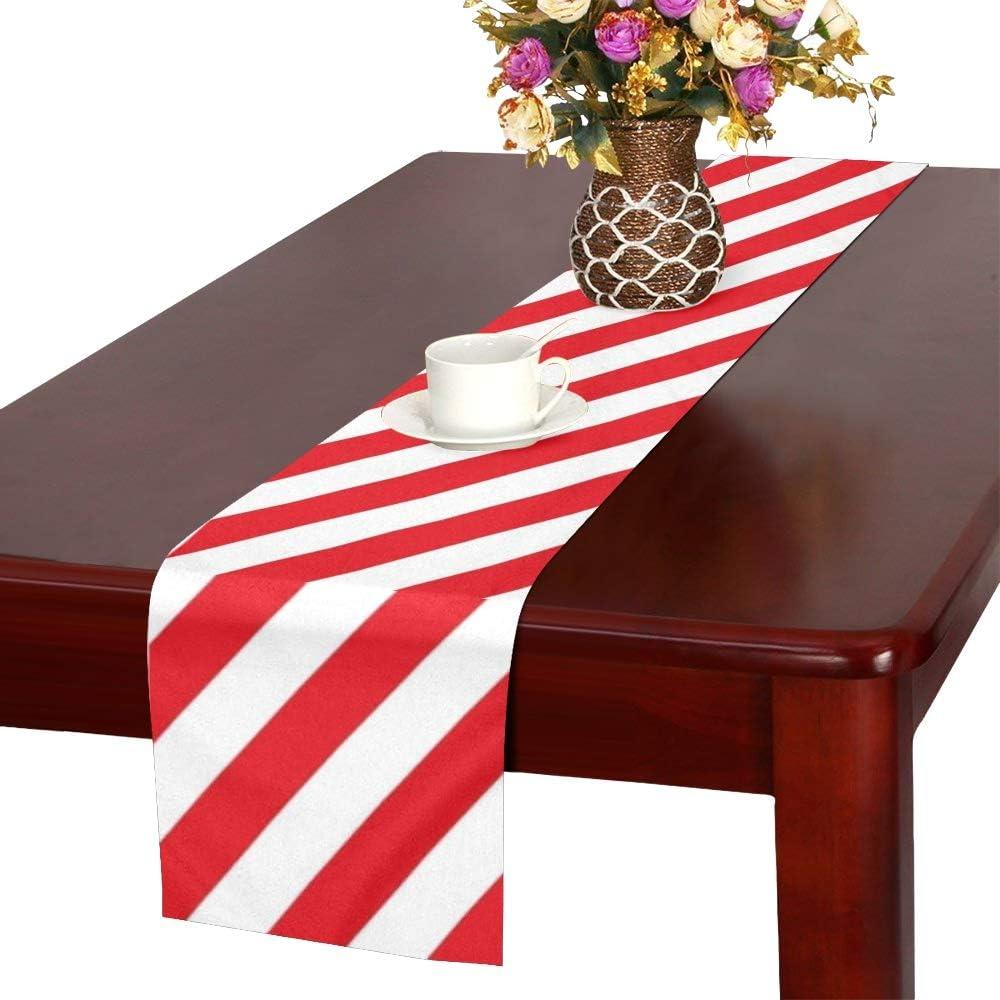 d/écor Reopx Rayures Rouges sur Le Chemin de Table ray/é Blanc Chemin de Table de Salle /à Manger de Cuisine 16 x 72 Pouces pour Les d/îners /év/énements
