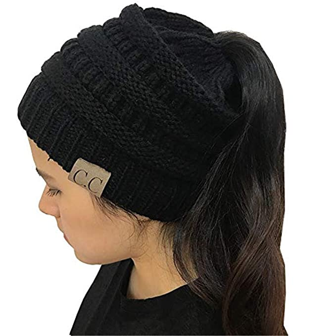 c2b278bb381 YOUFAN BeanieTail Soft Stretch Cable Knit Messy High Bun Ponytail Beanie  Hat Cap (Black)  Amazon.co.uk  Clothing