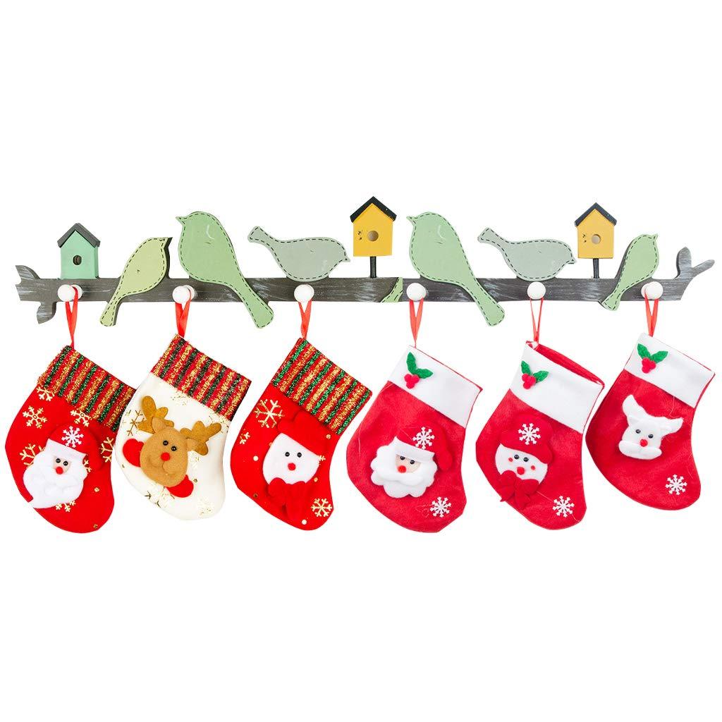 Cute Christmas Mini Stocking Great Gift Xmas Party Favors Supplies Decorative Little Treats Santa 3D Rustic Stockings Goodies Bags Stuff Silverware/Utensils Holders 8 Pack Vchoco