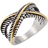Jude Jewelers Stainless Steel Vintage Style Silver Gold Statement Promise Anniversary Ring
