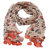 Girls Coral Grey Dotted Round Crochet Leafy Accents Scarf