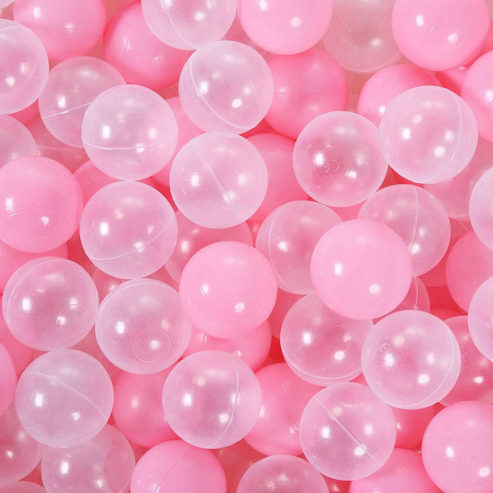 PlayMaty Ball Pit Balls - 100 Pieces Colorful Ocean Ball Plastic Ball Kids Swim Pit Fun Toy 2.1 inches (Pink and Transparent)