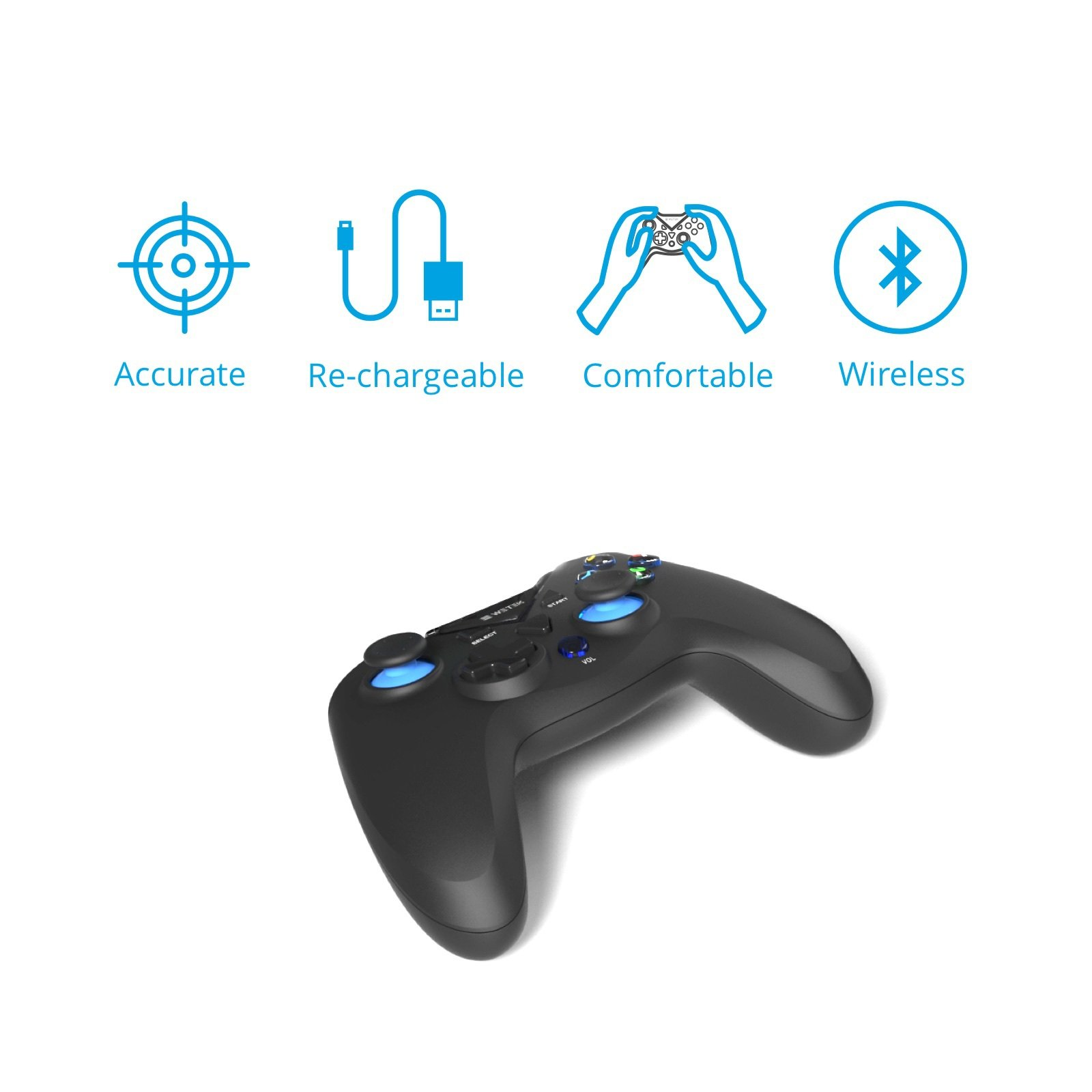 Gamepad / Joystick WeTek for Android systems (smart boxes, mobile phones and smartphones, tablet, mobile gaming), Amazon Fire TV, Gamefly, Steam OS and Windows PC USB 2.0 Bluetooth Wireless Li-Battery by WeTek (Image #3)