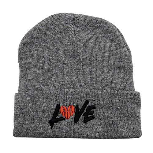 CZZYTPKK Love Basketball Warm Winter Hat Knit Beanie Skull Cap Embroidered Soft Headwear Grey