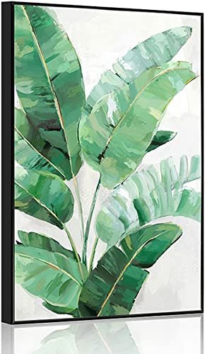 Crescent Art Large Framed Abstract Tropical Summer Green Plant Palm Tree Leaves Wall Art Painting on Canvas Prints Picture