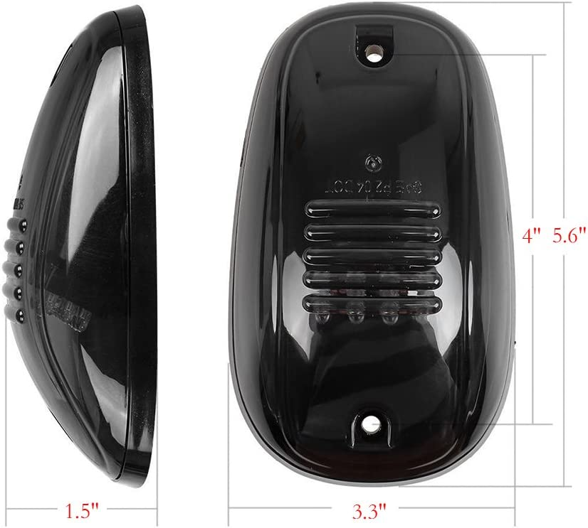 Ricoy For Dodge Ram Truck SUV 4x4 5 Smok Lense Black 12 LED Cab Roof Top Marker Running Clearance Light