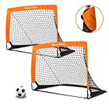 Dimples Excel Portable Soccer Goal with Fiber Glass Pole, Instant Set-Up, Easy Fold-Up, 40