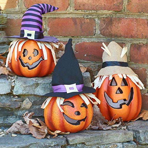 Prextex Set of Three Happy Halloween Light Up Jacko Lantern Decorative Pumpkin Foam Halloween Props for Great Haunted House Halloween Decoration -