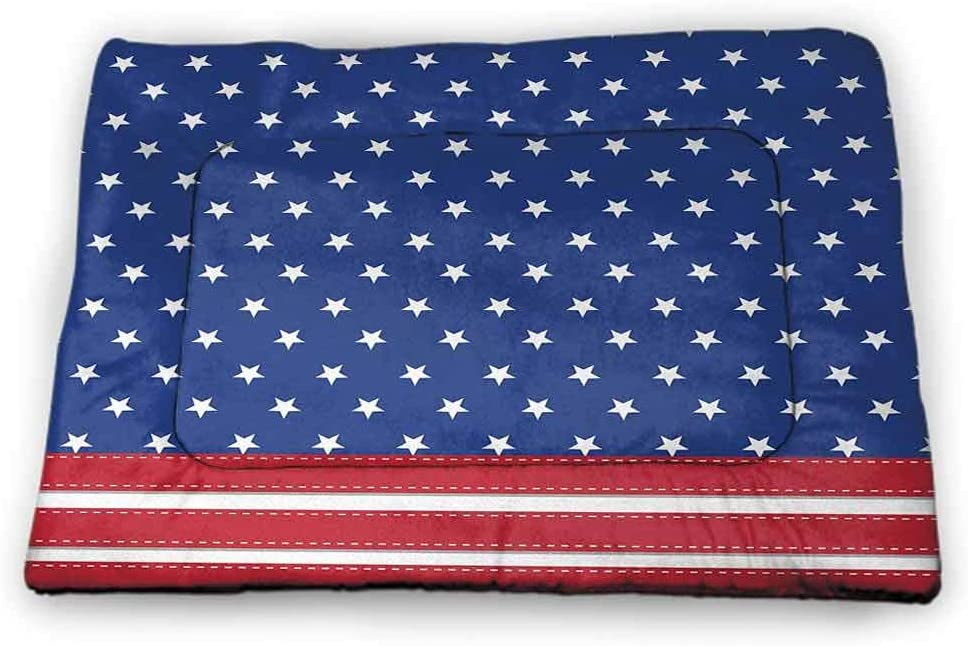 Nomorer Dog Beds 4th of July Machine Washable Pet Bed Liner Independence Themed Holiday Design with United States of America Flag Pattern Multicolor