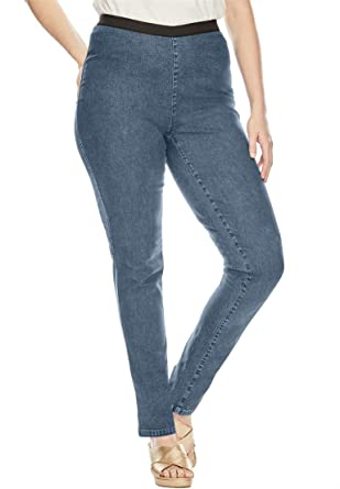 cd4587b0228e Jessica London Women s Plus Size Petite Straight Leg Stretch Denim Jeggings  at Amazon Women s Clothing store