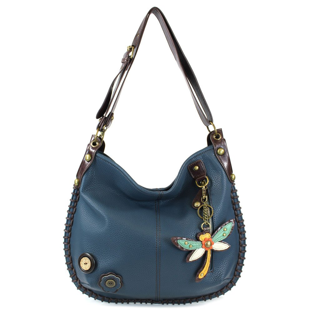 CHALA Crossbody Handbag, Hobo Style, Casual, Soft, Large Bag Shoulder or Crossbody - Navy (Dragonfly)