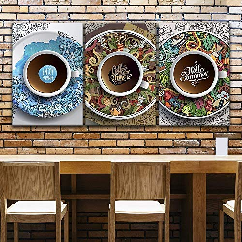 3 Panel Cup of Coffee on Graffiti Style Plate x 3 Panels