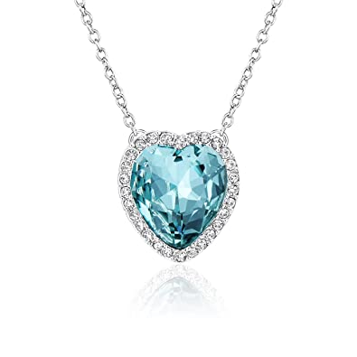 Amazon beyond love heart pendant necklace aquamarine blue beyond love heart pendant necklace aquamarine blue crystal jewelry gifts for women and girls 18quot aloadofball Gallery