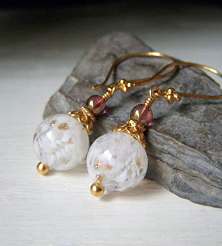 Vintage Venetian Pink /& White Stripe Glass Sterling Silver Earrings