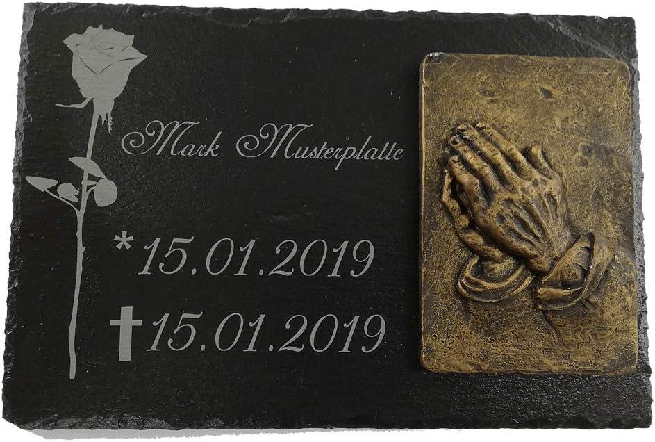 Grabstein Schiefer Stein Grab Tafel mit Rose-002 @ MIT IHREM TEXT @ 40 x 25 cm