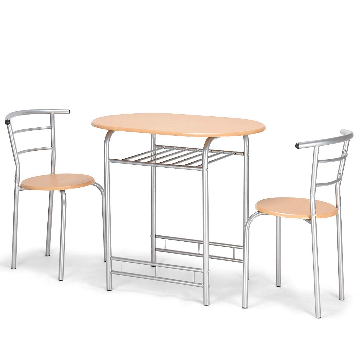 Giantex 3 PCS Bistro Dining Set Table and 2 Chairs Kitchen Furniture Pub Home Restaurant Table Chair Sets (Natural)