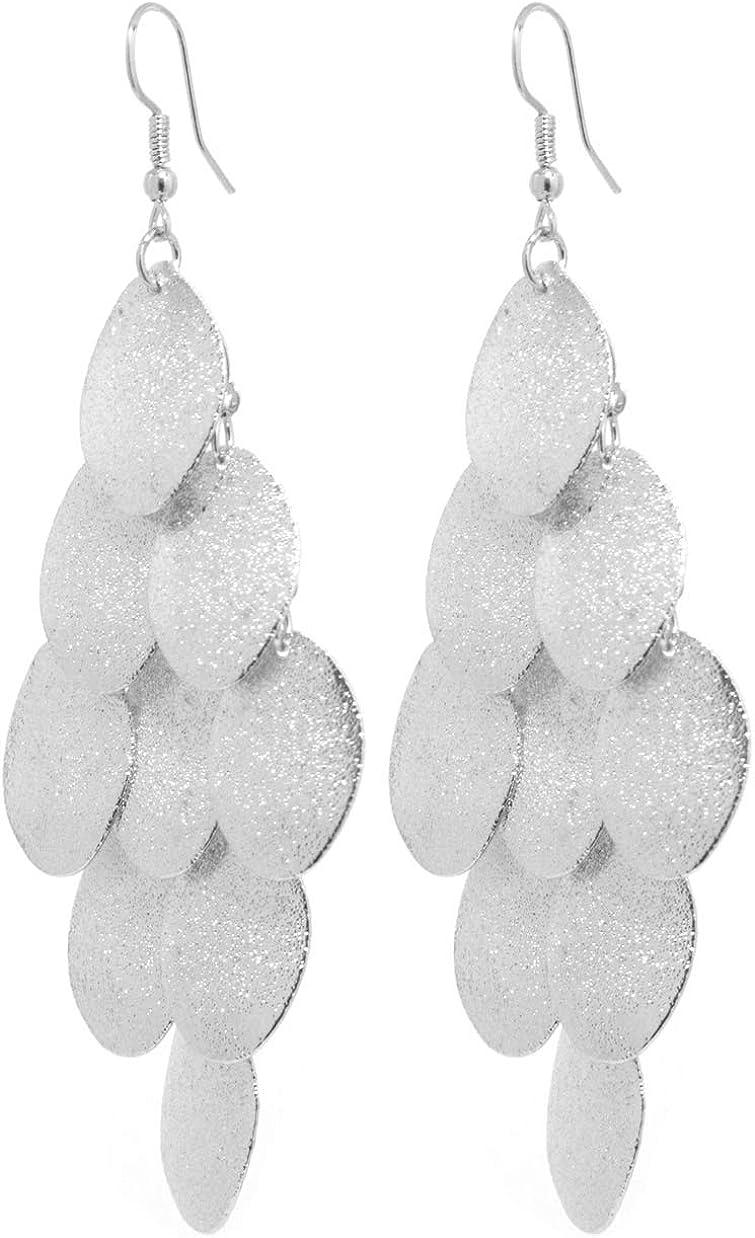 Damen Ohrhänger Blätter Edelstahl mit Glitzereffekt Ohrringe Ohrstecker