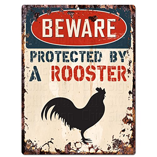 "BEWARE PROTECTED BY A ROOSTER Chic Sign Vintage Retro Rustic 9""x12"" Metal Plate Home Room Door Wall Decoration"
