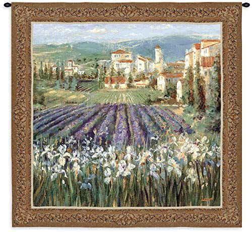 Provencal Village by Michael Longo   Woven Tapestry Wall Art Hanging   French Impressionists Village with Lavender Field Landscape   100% Cotton USA Size - Longo Art Landscapes
