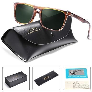 6bf396dd93 Amazon.com  Carfia Classic Rectangular Mens Sunglasses