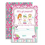 Spa Pampering Birthday Party Invitations for Girls, Ten 5''x7'' Fill In Cards with 10 White Envelopes by AmandaCreation.