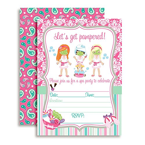 (Spa Pampering Birthday Party Invitations for Girls, 20 5