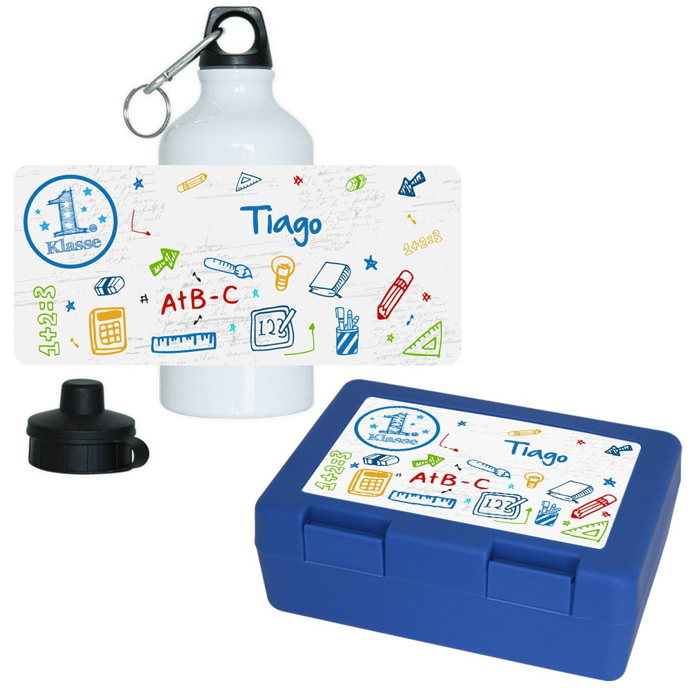 Eurofoto Brotdose + Trinkflasche Set mit Namen Tiago und schönem Motiv zur Einschulung für Jungen   Aluminium-Trinkflasche   Lunchbox   Vesper-Box