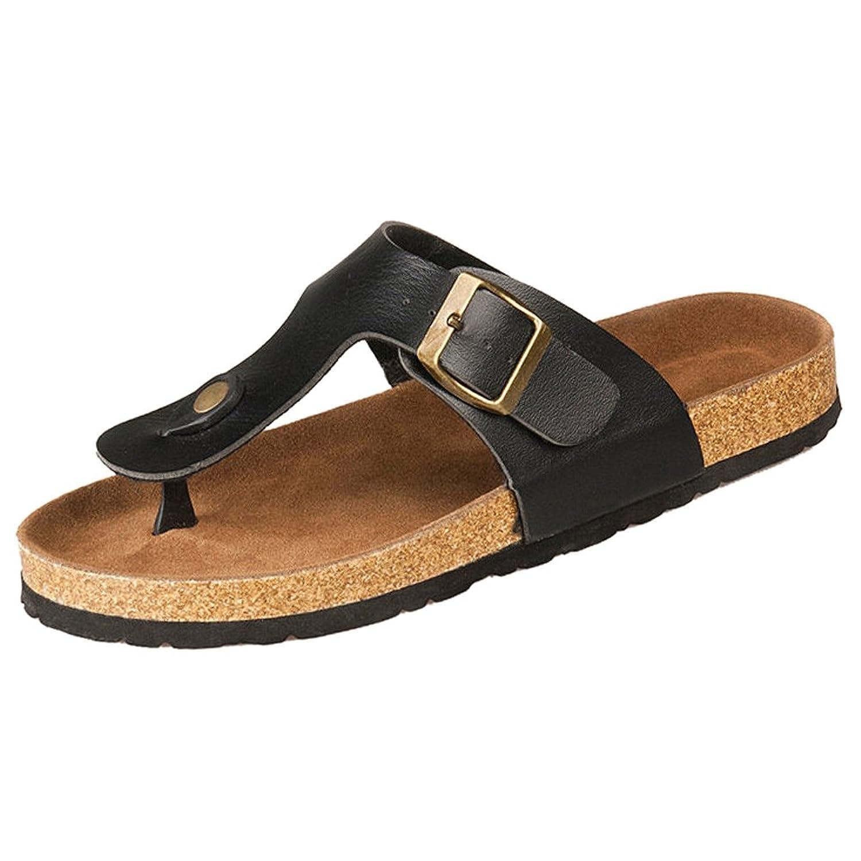 SODIAL(R)New cork flats sandals men and women summer flip flops unisex casual slippers shoes size 12 Black