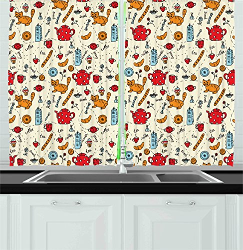 Ambesonne Kitchen Decor Collection, Cats Tea and Sweets Coffee Morning Muffins Milk Bread Home Cafe Cartoon Doodle Art, Window Treatments for Kitchen Curtains 2 Panels, 55X39 Inches, Red Cream Orange
