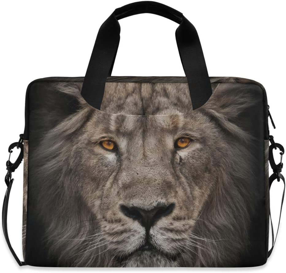 ALAZA Portrait of Lion Animal Print Laptop Case Bag Sleeve Portable Crossbody Messenger Briefcase w/Strap Handle, 13 14 15.6 inch
