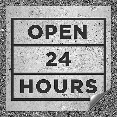 CGSignLab |''Open 24 Hours -Basic Gray'' Heavy-Duty Industrial Self-Adhesive Aluminum Wall Decal (5-Pack) | 12''x12''